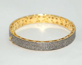 Elegant vintage look rose cut diamond broad hinged bangle bracelet - SKU PJ410175