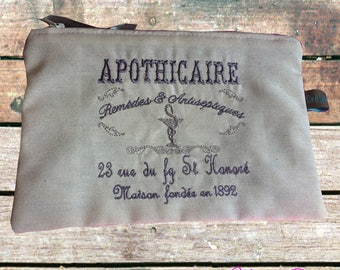 """Kit / rectangular linen bag embroidered """"Apothecary"""" in the old"""