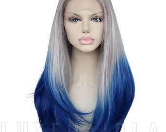 """Straight Ombré Royal Blue Synthetic Heat Resistant 18"""" Lace Front Wig by LUXEHAIRLA"""