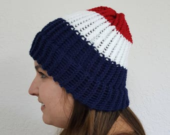 Patriotic Red White and Blue Beanie Hat