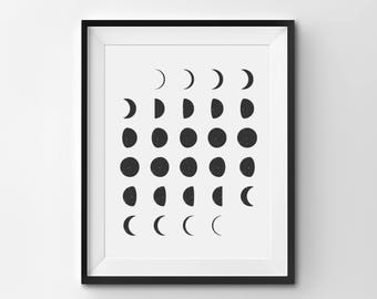 Moon Phases Wall Art, Moon Phase Art Print, Full Moon Print, New Moon, Crescent Moon, Printable Moon Poster, Moon Phase Illustration