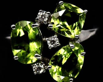 Sublime ring S925 silver gold plated white zirconia and Peridot