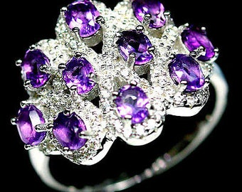 Remarkable gold plated S925 silver ring white amethyst and zirconium