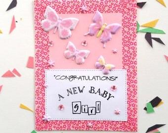 Baby girl card,It's a girl card,Congratulations baby girl,Congrats Mom,Love butterflies,Baby shower card,New baby girl,love baby girls,