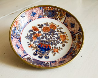 Chinese porcelain vintage, old collectible plate, porcelain & brass plate Chinese Vintage, decorative plate