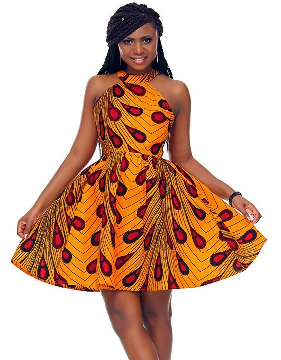 f17ad4d86c734 African print bardot neck dress with belt/sash / African