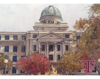 Texas A&M University LIMITED EDITION Pen and Ink and Watercolor Art Print Illustration by John Stoeckley -Graduation Gift