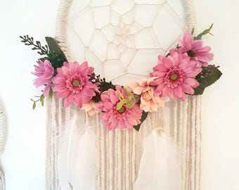 Pink dream catcher, pink dream catcher, dream catcher, Dreamcatcher, girly dream catcher, girls nursery, pink wedding, floral decor, pink