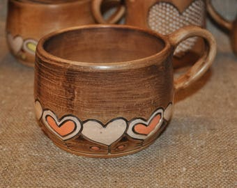 Ceramic mug, pottery mug, teacup with hearts, gift for woman