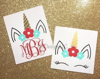 Unicorn Monogram Decal - Monogram Decal - Yeti Decal - Car Decal - Floral Unicorn Monogram Decal - Floral Decal
