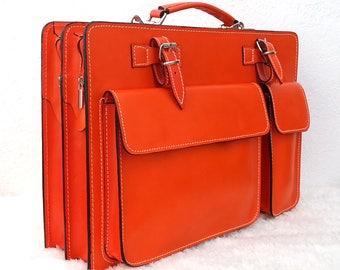 Briefcase shoulder bag leather document bag authentic