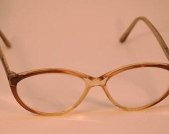 Vintage 80s Women Cateye Glasses Eyewear Transparent Clear Red Prescription Frames
