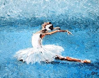 Original ballet oil painting/ballirina art/impasto/palette knife painting/Dance studio decor.