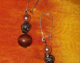 Tan Bead & Brown Wooden Bead Earrings