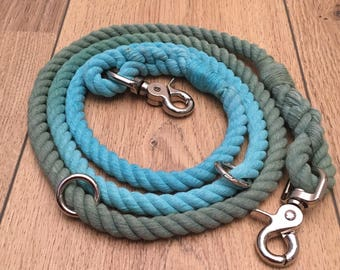 Apple in the sky rope lead- Blue and green rope leash 150cm and 10mm diameter