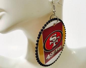 49ners Ear Rings w/black beads