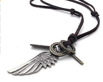 Men's Vintage Angel Wing Cross Pendant Brown Leather Cord Necklace Chain, Silver