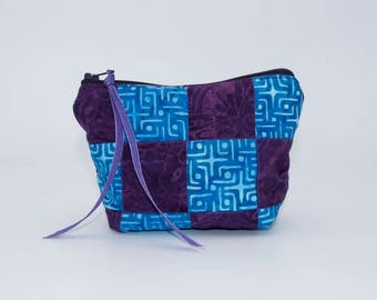 Cosmetic Bag: Smaller Sized Purple and Blue Batik Patchwork