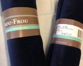 Color navy blue velvet jersey fabric