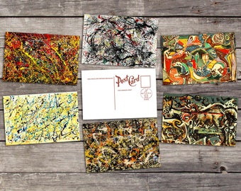 Jackson Pollock set 6 postcards |  abstract painting | modern art poster | abstract print | drip painting illustration | postcard set