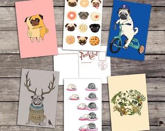 Pug set 6 postcards | pug lover gift | animal art print | pet lover illustration | puppy painting | cute doggie | PaperBunnyShop