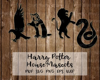 Harry Potter House Mascots Gryffindor, Slytherin, Hufflepuff, and Ravenclaw Lion, Badger, Eagle/Raven, Serpent