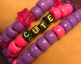 Purple/Pink Beaded Bracelet