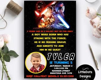 LEGO Star Wars Einladung, Lego Star Wars Geburtstagseinladungen, Lego Star  Wars Geburtstag, Lego