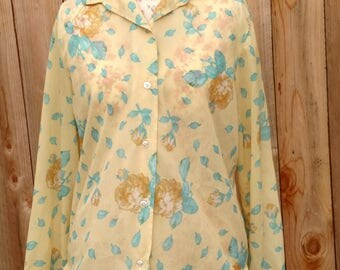 1970's Novelty Sheer Floral Blouse