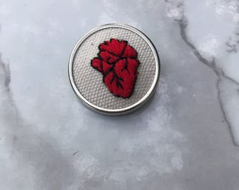 Anatomical Heart Pin   Hand Stitched Embroidered Anatomy Love