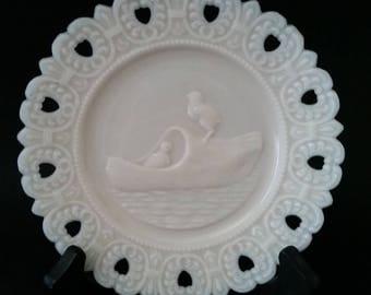 "2 Chicks / Ducks in Wooden Clog Shoe Openwork Hearts Rim - 6.5"" Plate ~ 05191741"