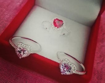 Anello con pietra a forma di cuore, rings with Heart shaped Stone