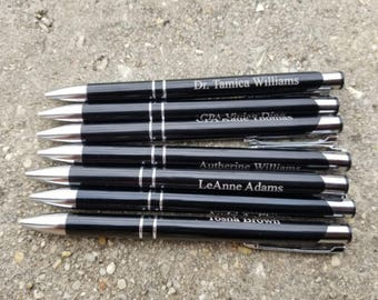 Personalized Engraved Silver Trim Pen, Personalized Pen, Engraved Pen, Custom Pens, Metal Pens, Ballpoint Pens, Wedding Favors