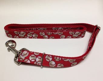 Adjustable Dog Leash, Red Adjustable Dog Leash, Baseball Dog Leash, Red Dog Leash