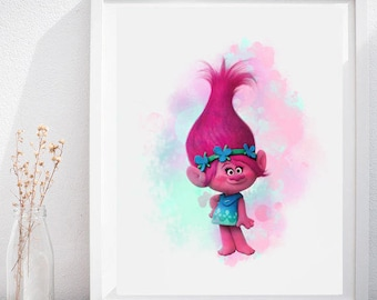 INSTANT DOWNLOAD - Trolls Poppy,Trolls Poppy Print,Trolls Kids Art,Trolls Poppy Art Print,Trolls Poster,Trolls Watercolor,Trolls Wall Decor