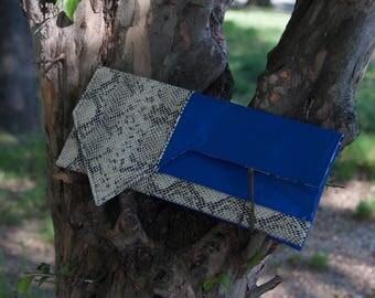 Asymmetric Contrast Beige Faux Python Snake -vs- Faux Royal Blue Leather Envelope Style Clutch