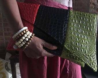 Asymmetric Color-blocked Faux Alligator Red Black Green Envelope Style Clutch