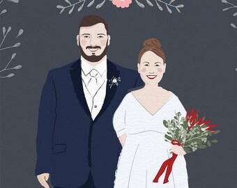 Wedding portrait, Customized wedding illustration, Printable portrait, Wedding gift, Couple portrait, Anniversary gift, Family portrait