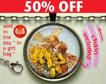 Fairy Romance pendant, fairy kiss, romantic gift fairy pendant antique fairy jewelry Valentines gift fairy necklace keychain N992