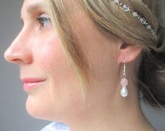 Earrings for the bride - Bohemian spirit, romantic Pearl pink powder/Pearly ivory range silver.