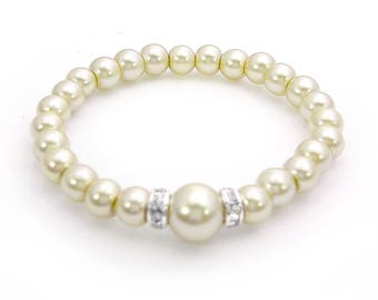 Baby Bracelet - Newborn to 12 Months Jewelry- ELEGANT Classic Cream Series - Swarovski Pearl & Moonstone Rondelles - Shower Gifts and More