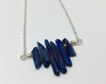 Blue Crystal and Silver Bar Necklace
