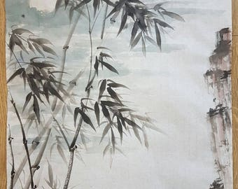 Original Traditional Chinese Brush Painting: Bamboo Under the Moon