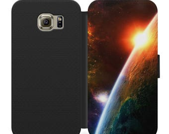 Sunrise in space flip wallet phone case for iphone 4 5 6 7, Samsung s2 s3 s4 s5 s6 s7 S8 S8 plus and more