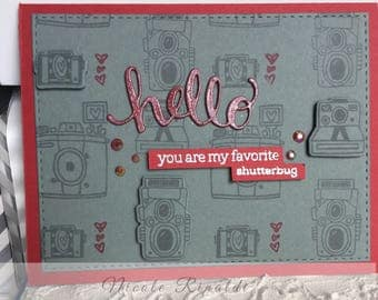 Hello Note Card with Cameras