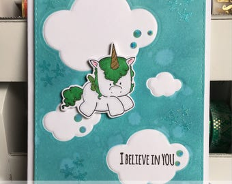 I Believe in You Greeting Card with Unicorn