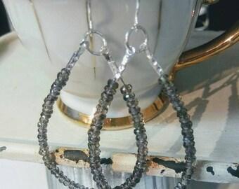 Natural Green Sapphire Sterling Silver Oval Hoop Beaded Rondelle Earrings