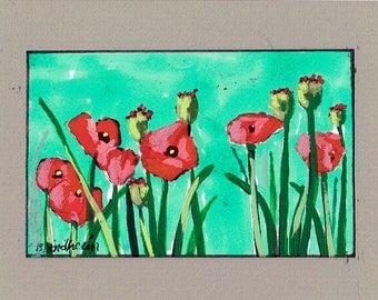 Red Poppies Flowers Flower Art Lnda Blondheim Art garden painting plants landscape