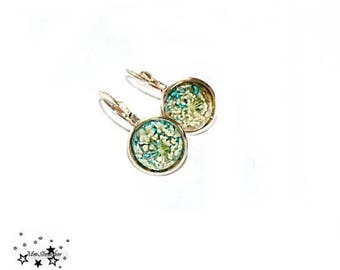 Cabochon earrings, real flowers, rosè-gold
