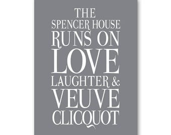 Personalised Veuve Clicquot Sign, Personalised The (surname) House Runs on Love Laughter & Veuve Cliquot Sign, Champagne Sign Champagne Gift